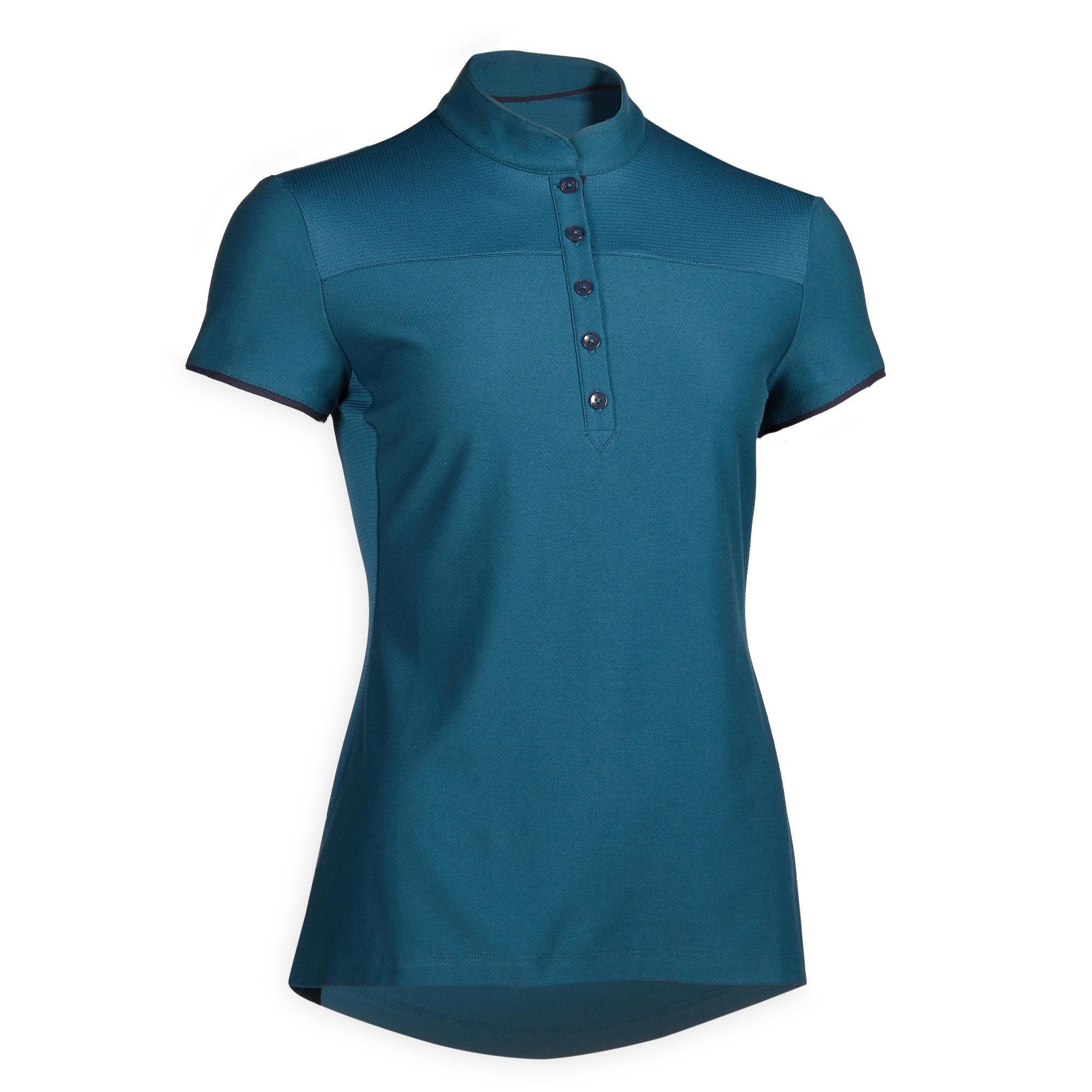 Reit-Poloshirt kurzarm 500 Damen petrolblau