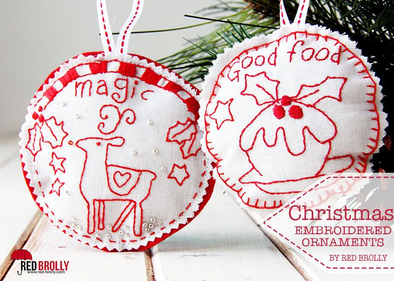 2 More Christmas Ornament Designs Red Brolly Embroidered Christmas Ornaments Red Brolly Handmade Christmas