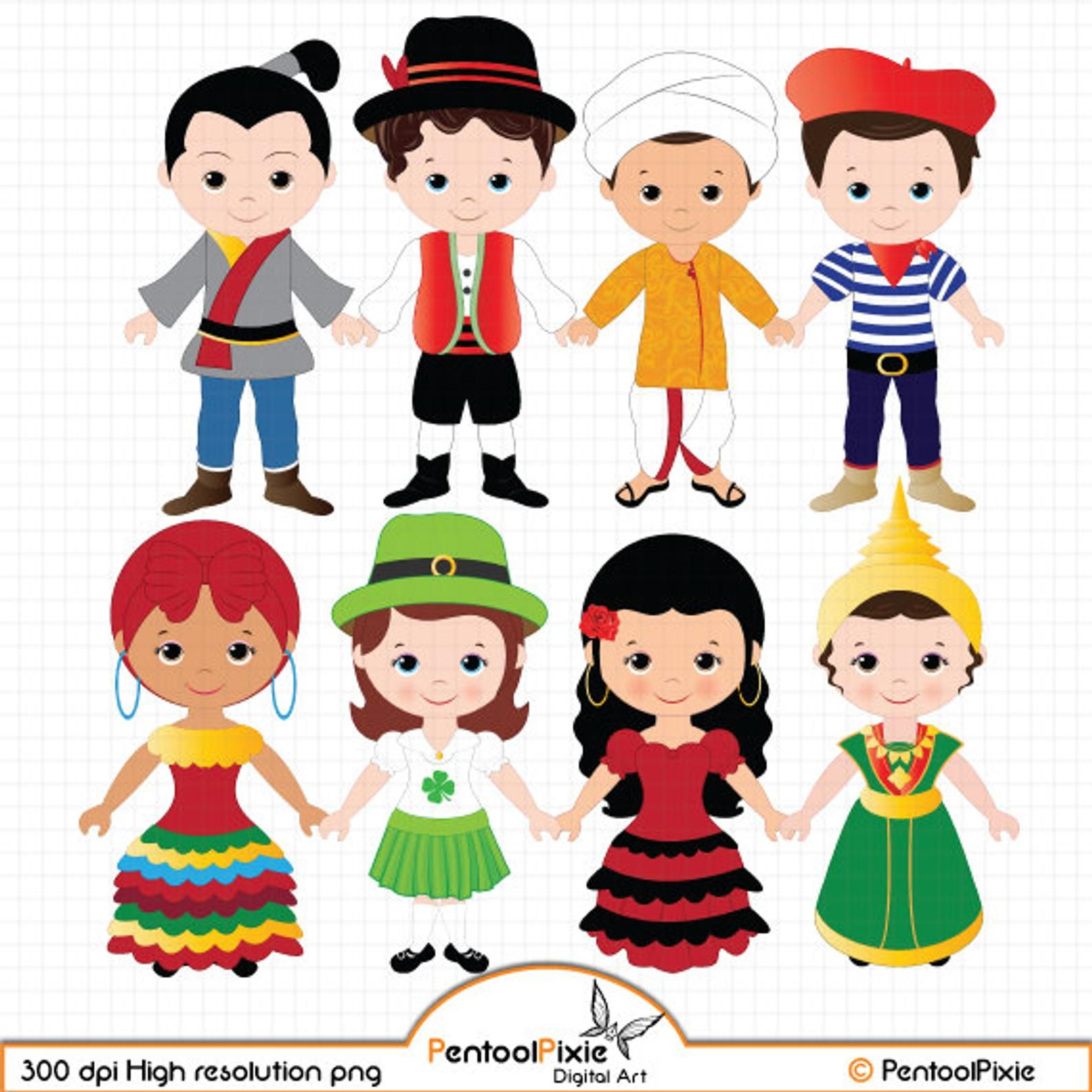 Children Of The World Clipart Part 2 Children Around The Etsy World Clipart Costumes Around The World Kids Clipart
