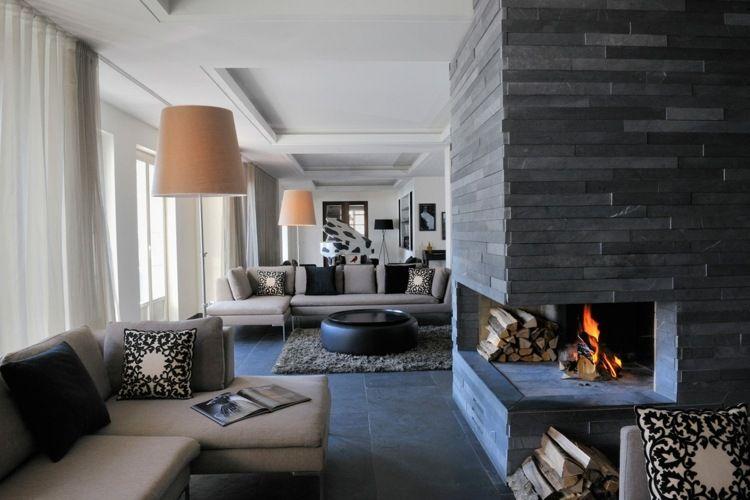 Tipps zum Wohnzimmer gestalten - Dunkelgraue Steine für den Kamin - stein design wohnzimmer