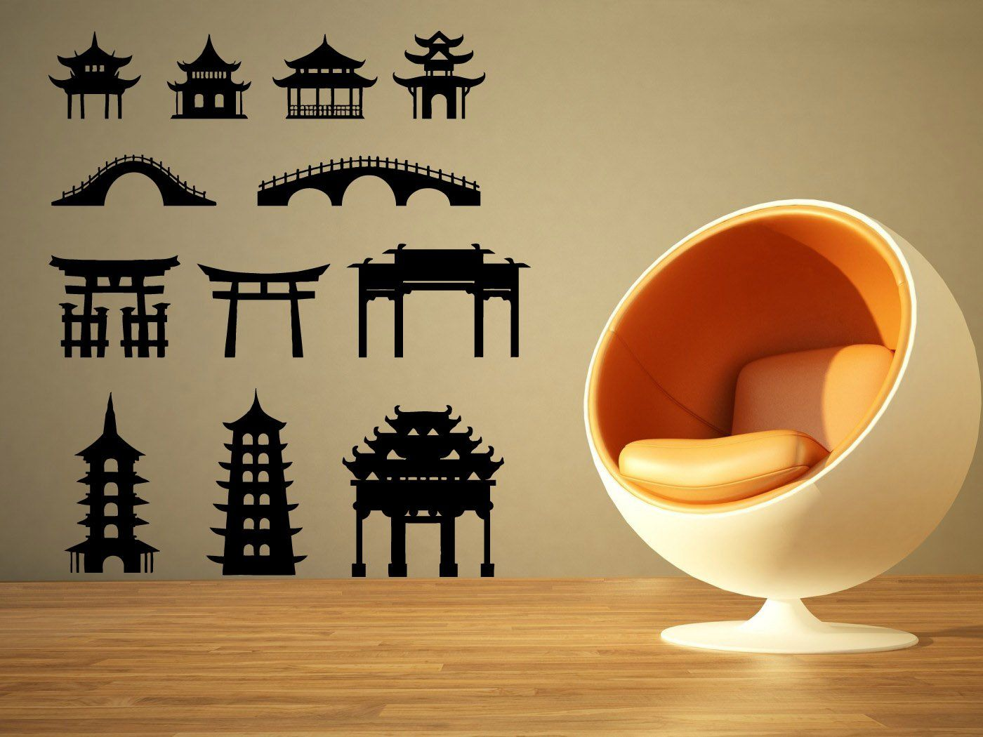 Wall Room Decor Art Vinyl Sticker Mural Decal Asian Architecture ...