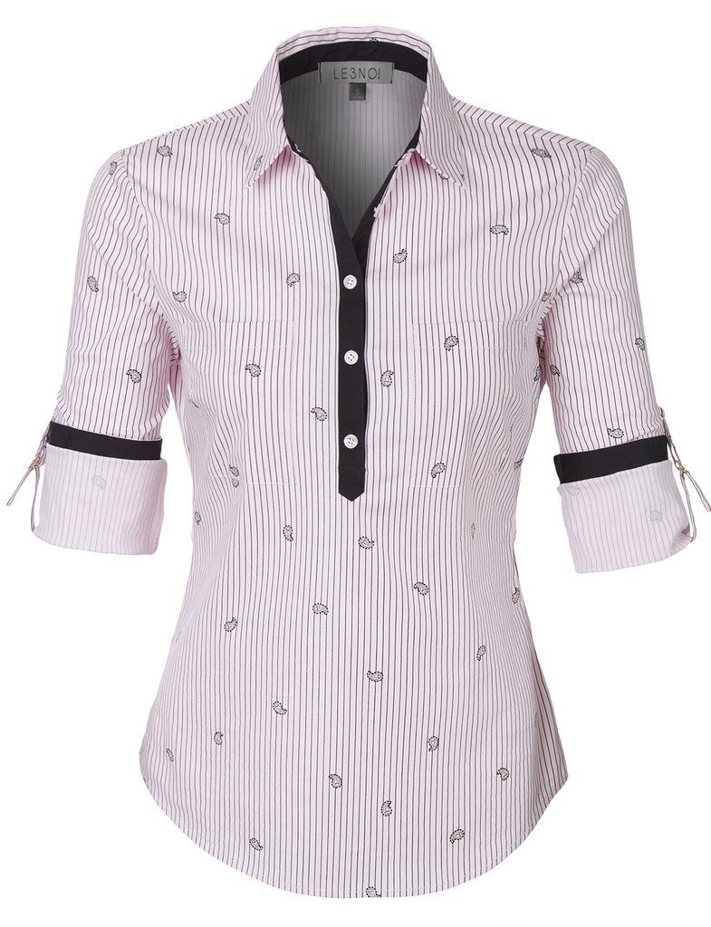 a9036959909 LE3NO Womens Striped Roll Up Long Sleeve Half Button Down Shirt with ...