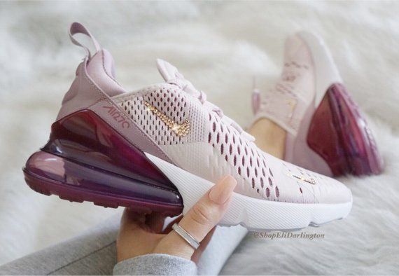 low priced 1a654 d561a Swarovski Bling Nike Air Max 270 Shoes in Rose Gold Swarovski Crystals,  Free Domestic Shipping