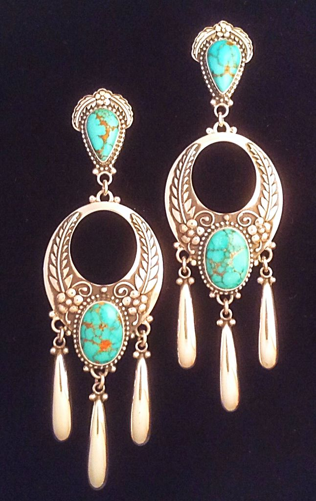 Earrings set with carico lake turquoise by Annelise Williamson