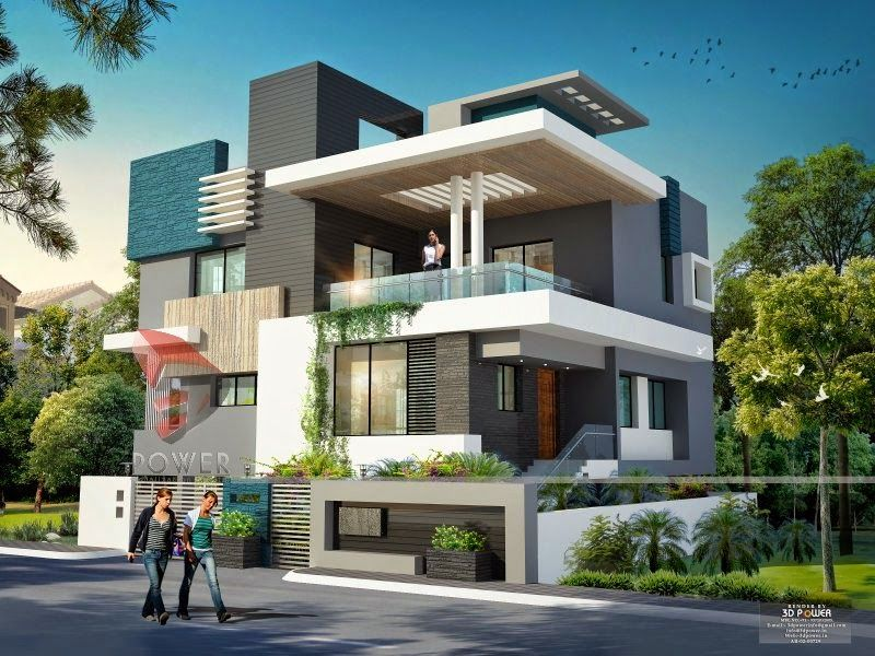 We are expert in designing 3d ultra modern home designs for Indian homes front design