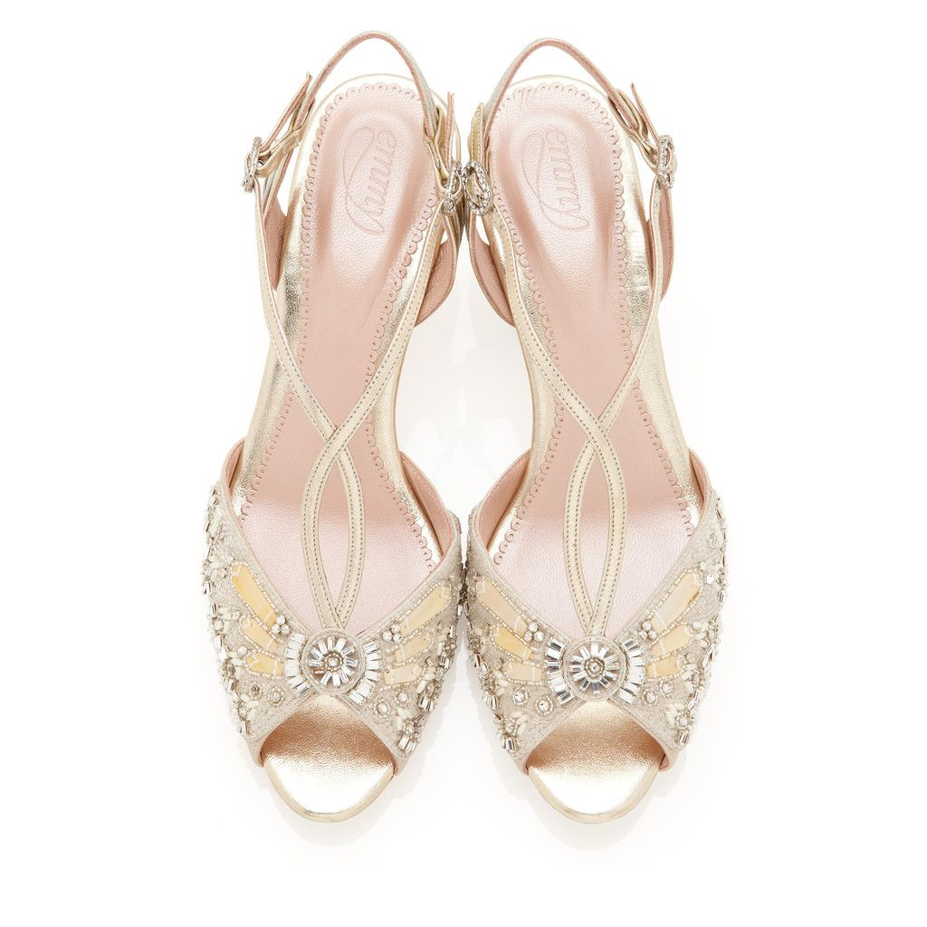 Ella Gold Bridal ShoesLow Heel