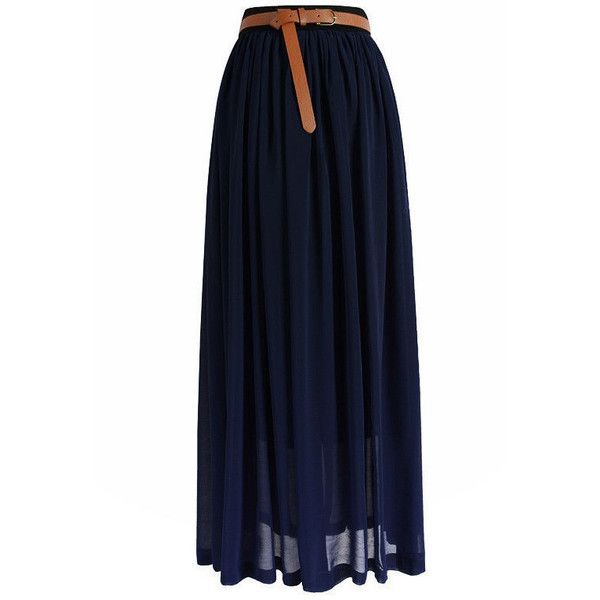 fc6fefa7e928a Midnight Blue Chiffon Maxi Skirt ($19) ❤ liked on Polyvore featuring  skirts, dark blue, long chiffon skirt, chiffon skirt, layered maxi skirt,  dark blue ...