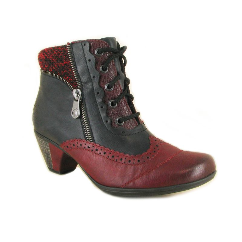 Rieker Leather Lace Up Heeled Ankle