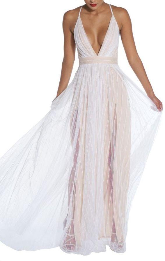 46128bbc1b luxxel Maxi Gown chiffon sheer flow dress