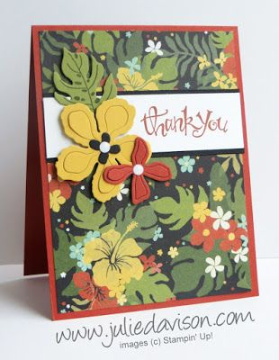 Stampin' Up! Botanical Gardens + Sassy Salutation Thank You Card #stampinup 2016 Occasions Catalog www.juliedavison.com #GDP033 #botanicgarden