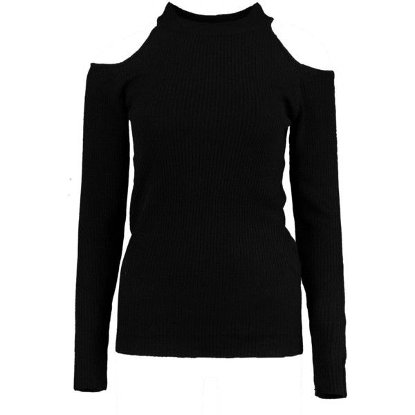 Boohoo Harriet Cold Shoulder Rib Jumper   Boohoo ($18) ❤ liked on Polyvore featuring tops, sweaters, cut-out shoulder sweaters, open shoulder sweater, boohoo tops, cold shoulder sweater and cold shoulder jumper