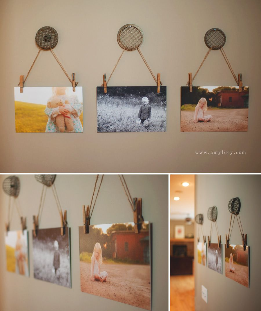 Frog Wall Art… using flower frogs, string, and clothes pins as hangers.