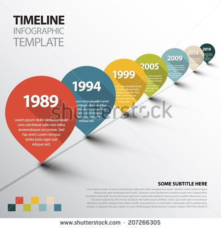 Vector Infographic Timeline Template With Retro Pointers  Stock