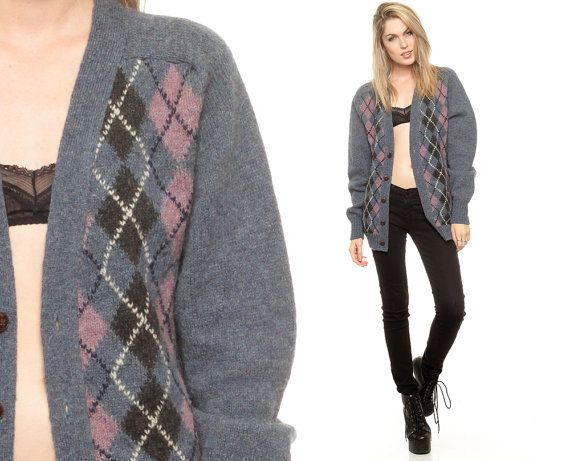 Argyle Sweater Wool Cardigan 80s Plaid Slouchy by ShopExile