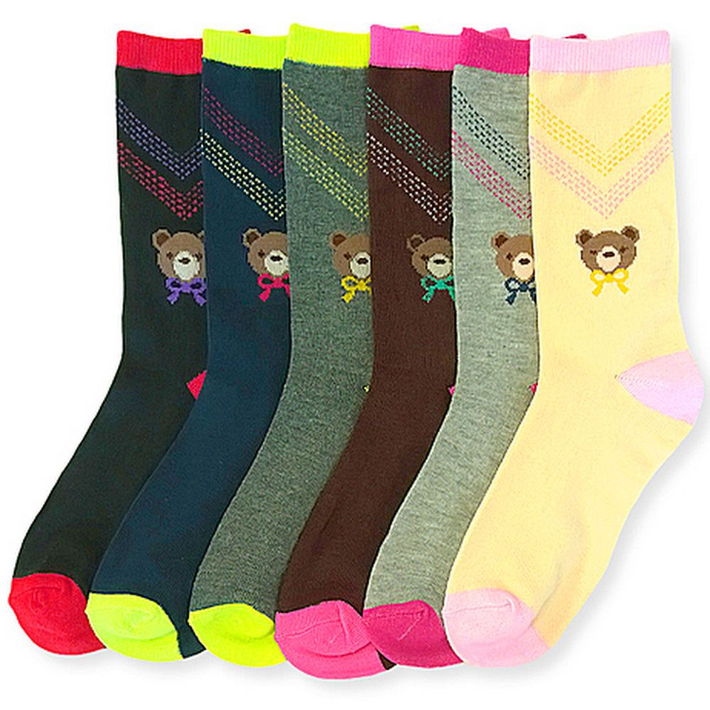 Lot of 6 Women Cotton Comfort Design Girl Polka Dot Stripes Crew Pack 9-11 Socks