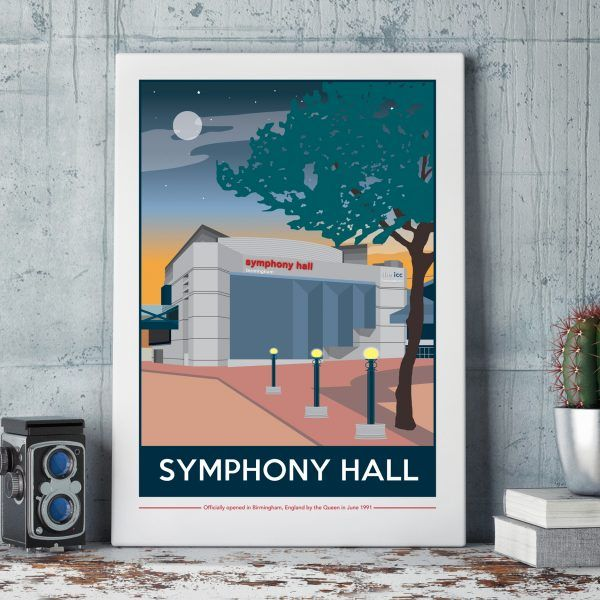 Birmingham Symphony Hall Print by Tabitha Mary.   £16.00–£105.00  The Symphony Hall captured at dusk. I am inspired by the old railway posters, my prints are now available as digital prints, signed Giclee prints both with an option of framing.
