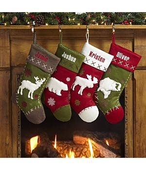 christmas stockings would make more traditional with burlap perhaps like the bear and moose - Moose Christmas Stocking