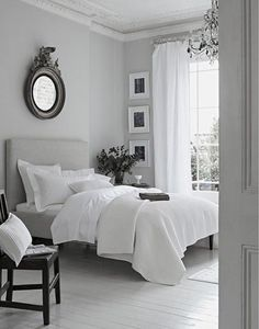 peaceful grey white bedroom | Dove grey, Laura ashley and Gray bedroom