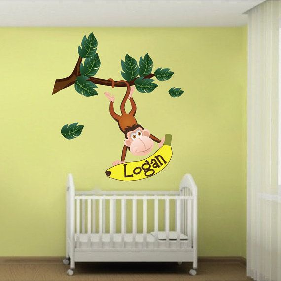 Jungle Monkey Wall Decal, Custom Name Zoo Animal Monkey Wall Design ...