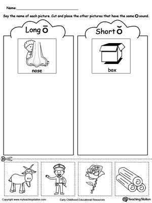 Short and Long Vowel O Picture Sorting Long vowels, Printable - printable worksheet