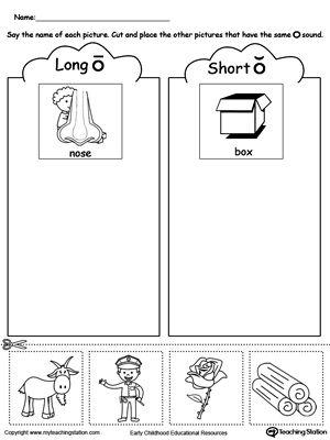 Short And Long Vowel O Picture Sorting Vowel Worksheets Kindergarten Worksheets Short Vowels