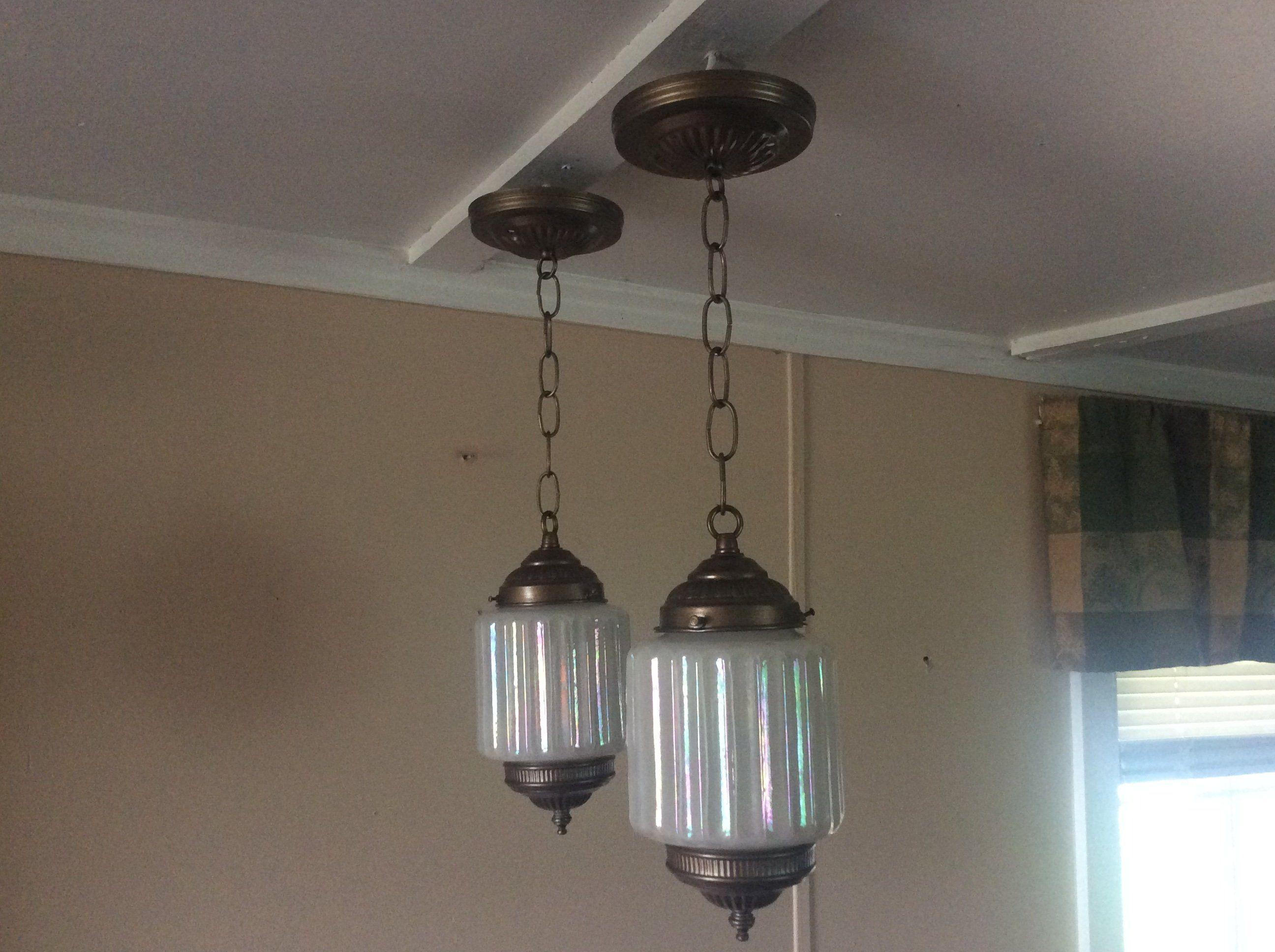 Vintage set of petite opalescent pendant lights mid century