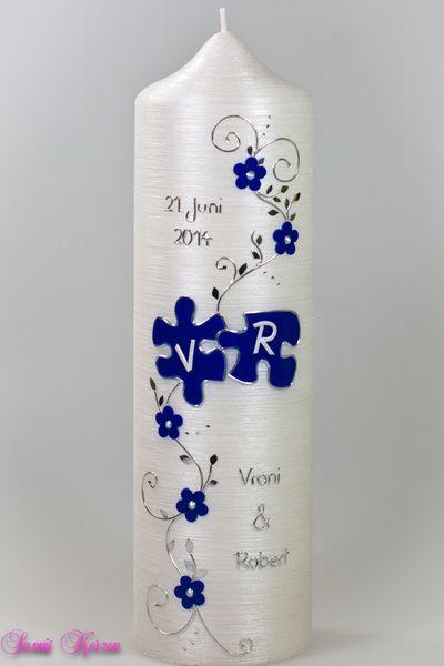 """Hochzeitskerze+""""romantisch""""+mit+Puzzle+Perlmutt+von+Sannis+Kerzen+nach+Wunsch+auf+DaWanda.com"""