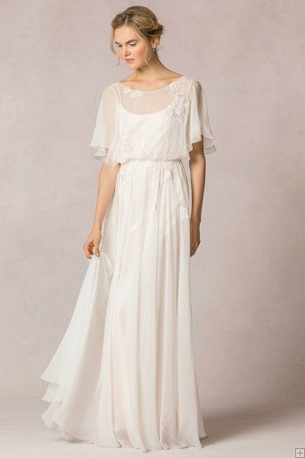 Casual flutter sleeved lace decorated silk chiffon vintage for Casual lace wedding dress