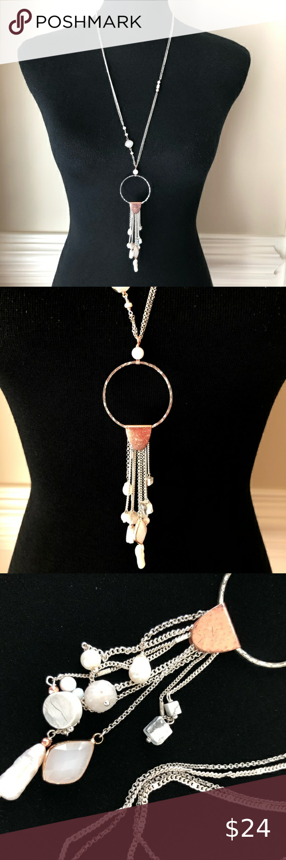 Nakamol Long Dreamcatcher Silver Pearl Necklace