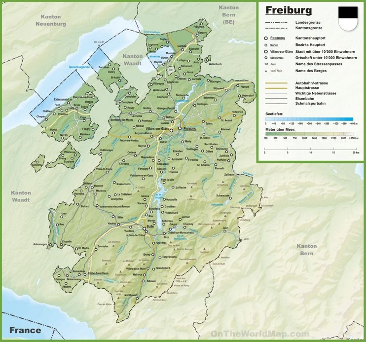 Canton of Fribourg map with cities and towns loving switzerland