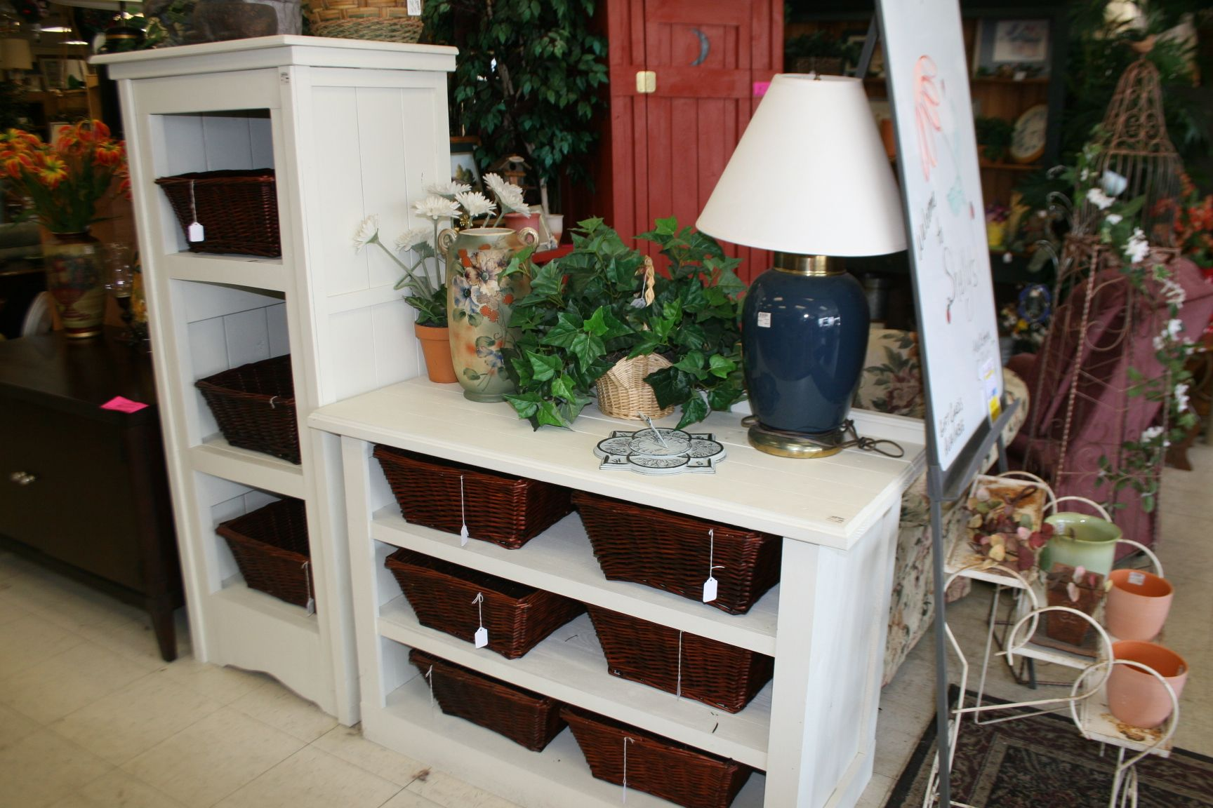 Gary made these shelves! I am thinking maybe he needs to make me some too! I love how you can use the baskets to keep things organized!