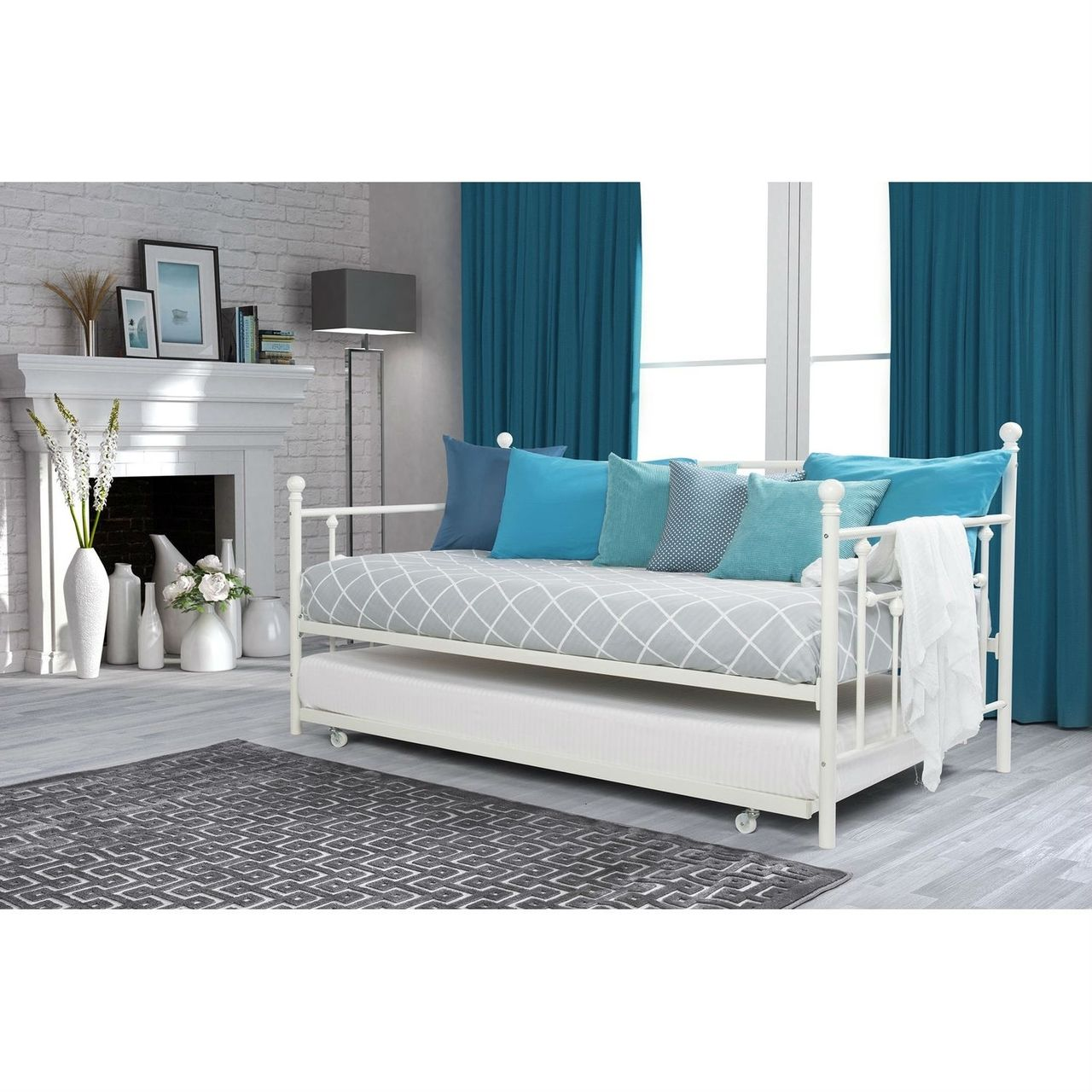 Twin White Metal DayBed with Rollout Trundle Bed Daybed