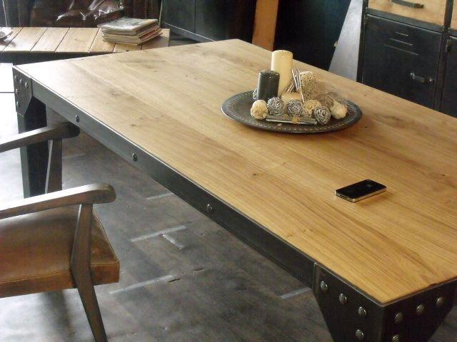 table de repas bois métal style industriel - micheli design