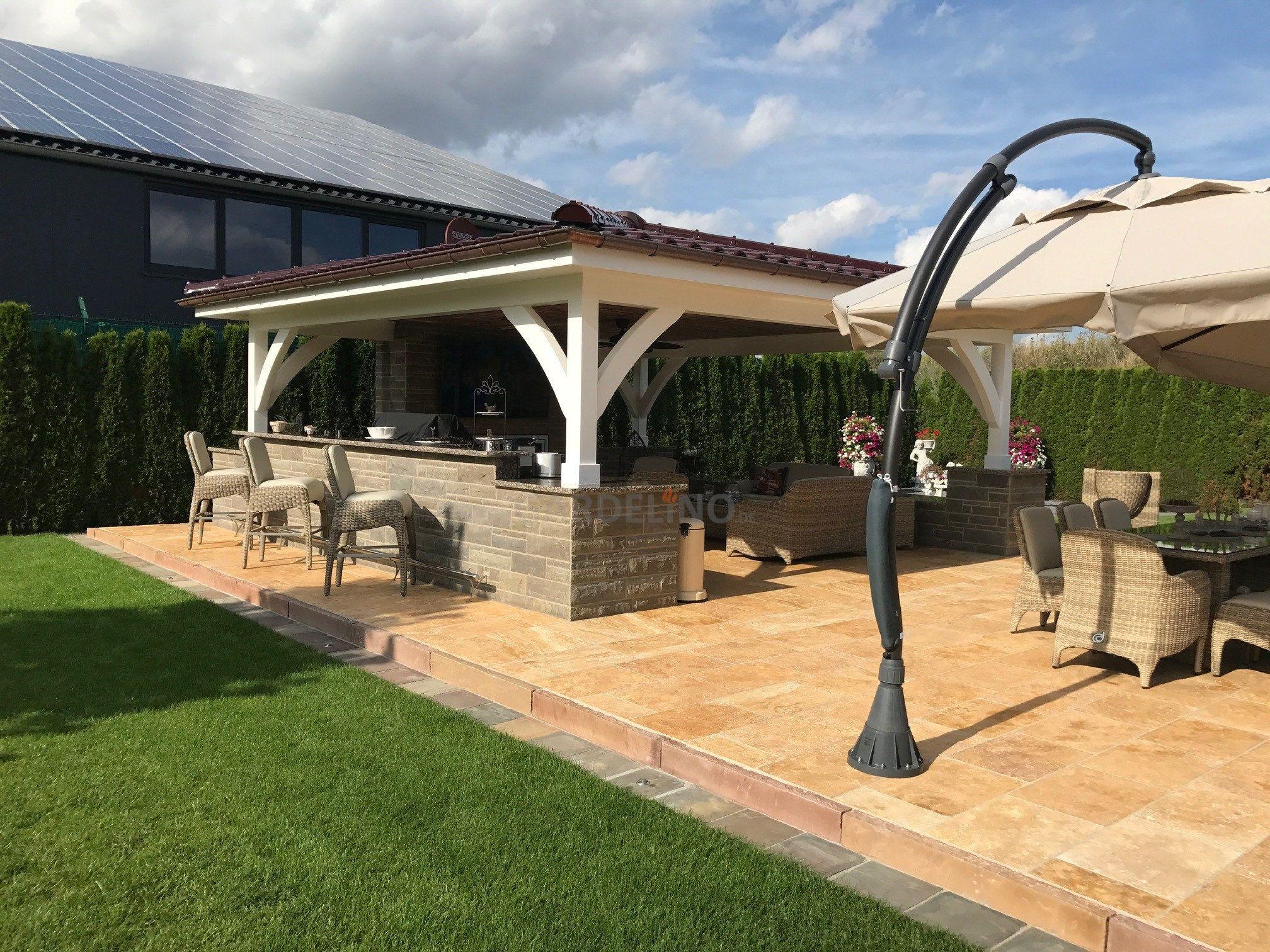 Outdoor Küche Dachterrasse : Luxus outdoor küche mit Überdachung auf großer terrasse mit bar und