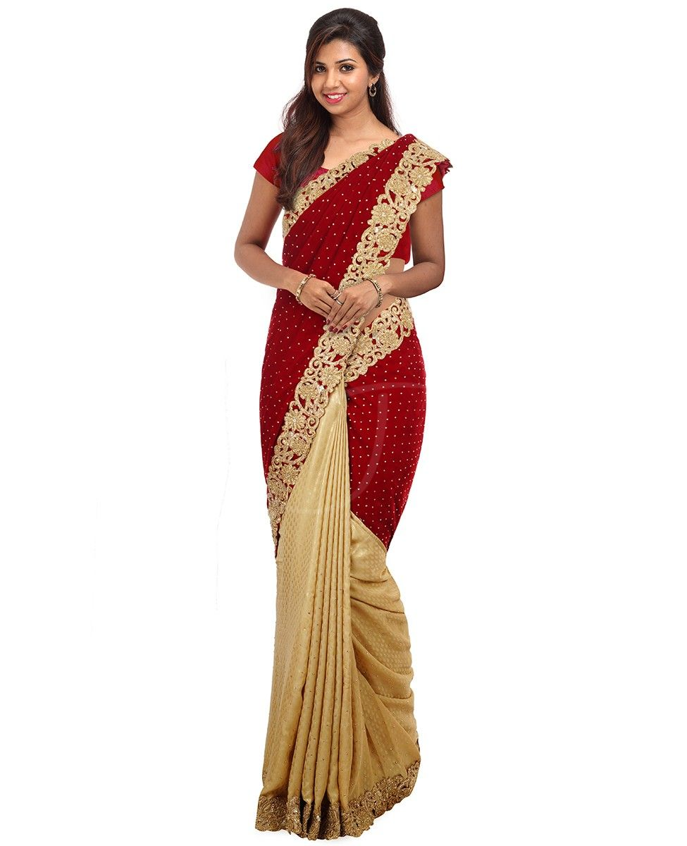 Maroon color velvet fancy partly saree with golden stones ...