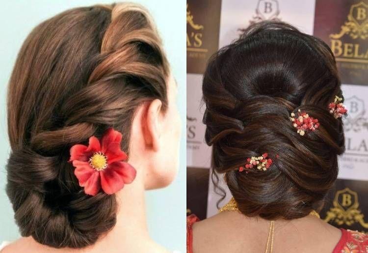 Elegant Messy Bun Hairstyle For Saree Medium Hair Styles Hair Styles Thick Hair Styles