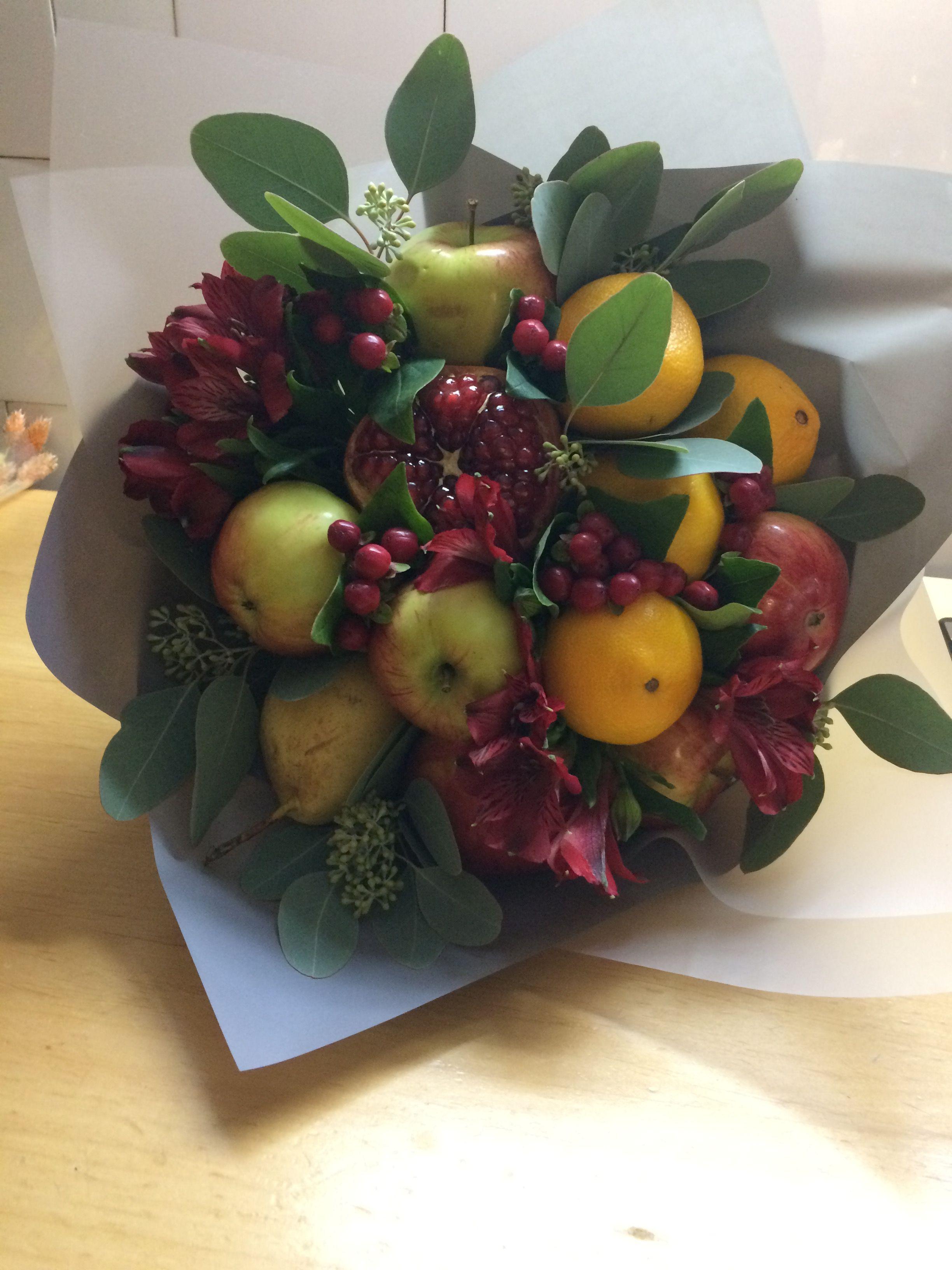 Букет с яблоками своими руками, цветы сирень оригинальные