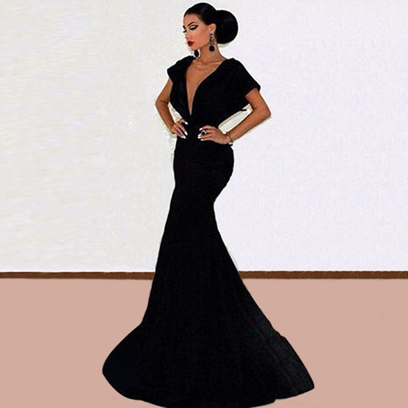 Find More Evening Dresses Information about New Elegant Long Black ...