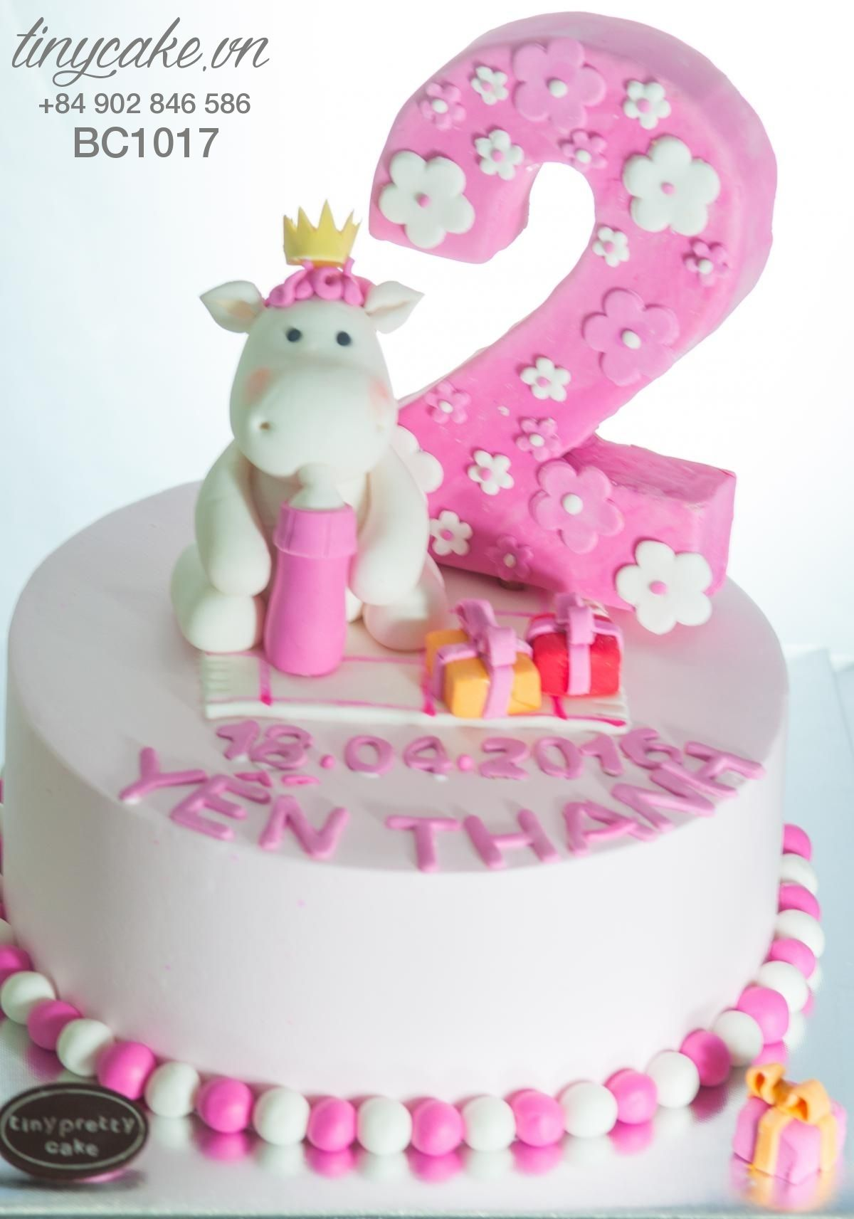 Birthday cake with little horse for baby girl 2 years old