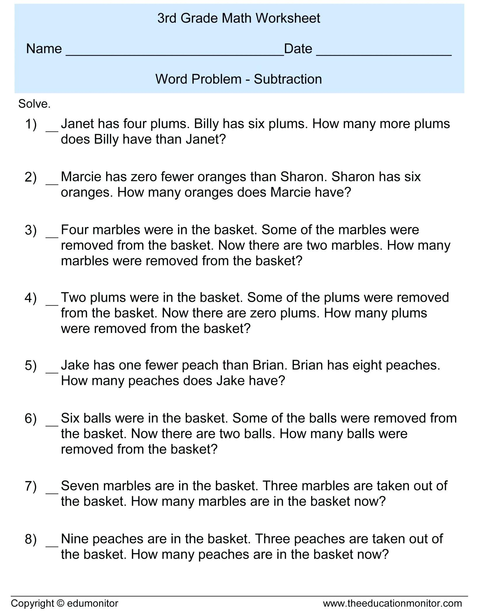 small resolution of Third Grade Math Word Problems Worksheets   Printable Worksheets and  Activities for Teachers