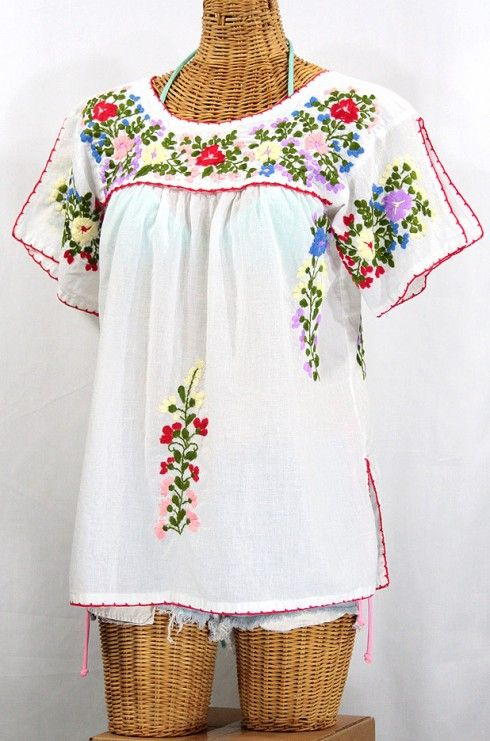 La Lijera Embroidered Peasant Blouse Mexican Style White Fashion