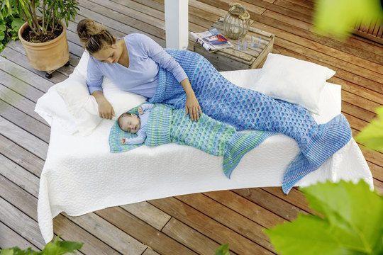 Die Meerjungfrauen Decken Für Mama Und Kind Laden Zum Gemeinsamen
