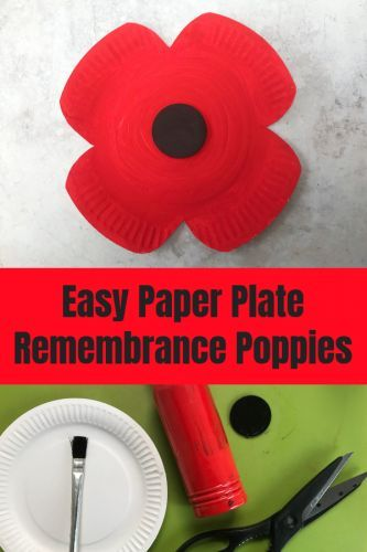 Crafts: Easy Paper Plate Remembrance Poppies - HodgePodgeDays