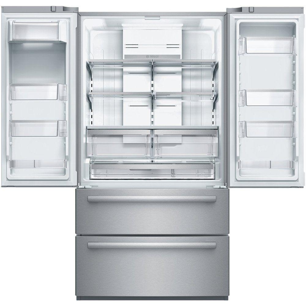 Best Buy Bosch 800 Series 20 7 Cu Ft 4 Door French Door Counter Depth Refrigerator Stainless Steel B21cl80sns Glass Shelves French Door Refrigerator Glass Display Shelves