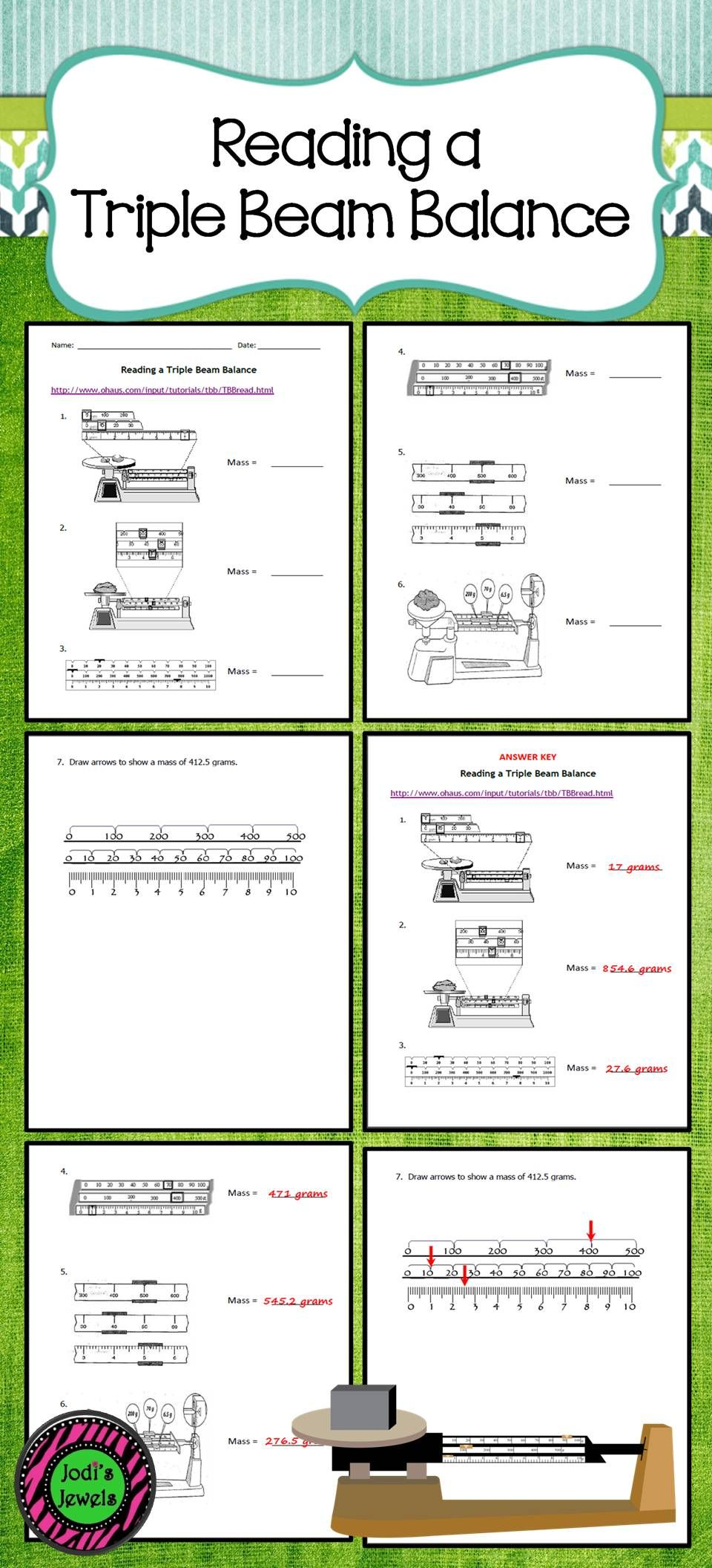 Reading A Triple Beam Balance Practices Worksheets Guided Practice Elementary School Science