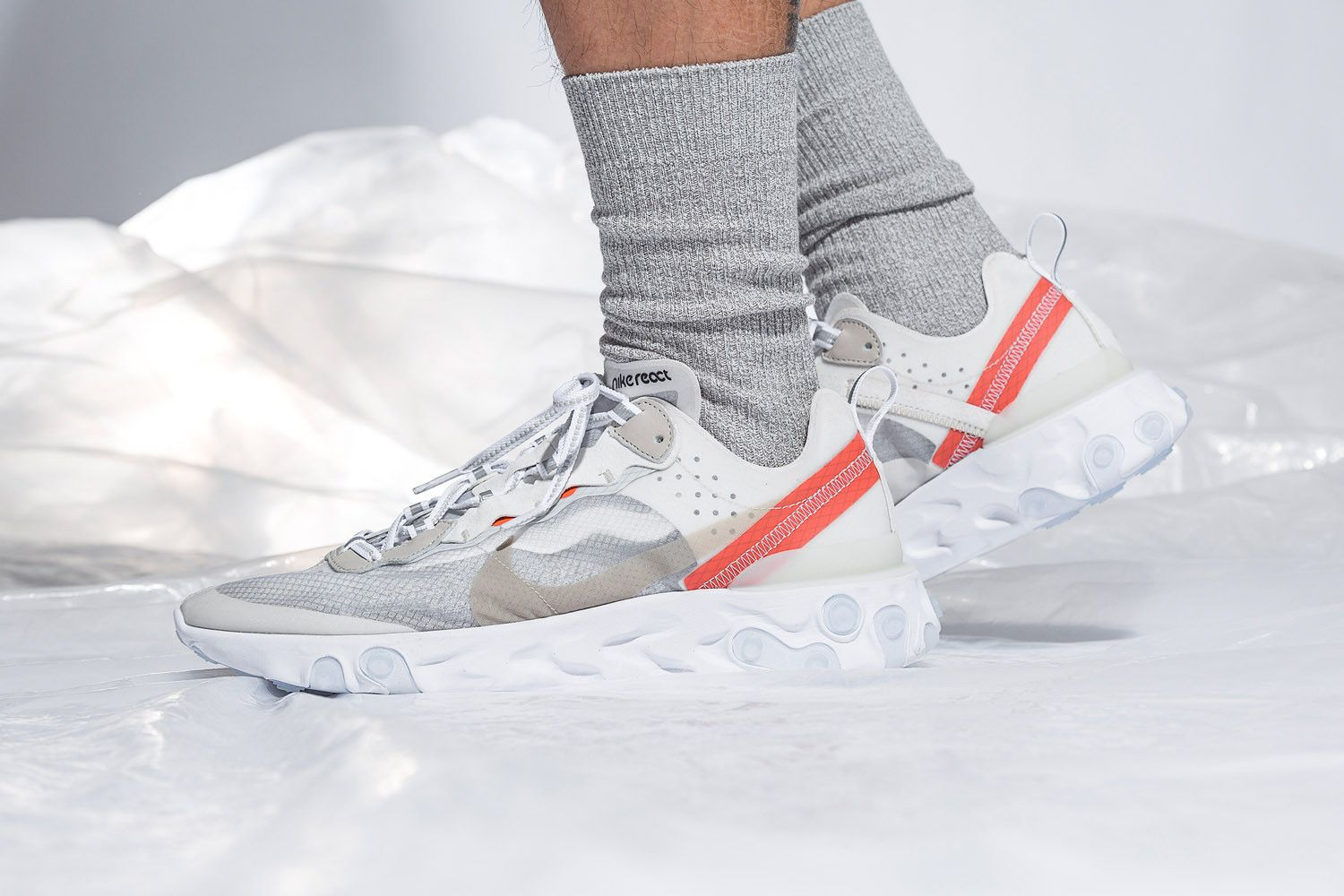 buy online a432a 656ee Nike React Element 87 On Foot Look Sail Light Bone Anthracite Black Release  Info General