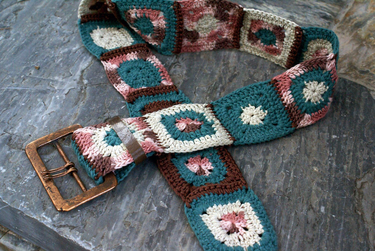 Vintage crochet belt with granny squares and brass belt buckle. by Hishuk on Etsy