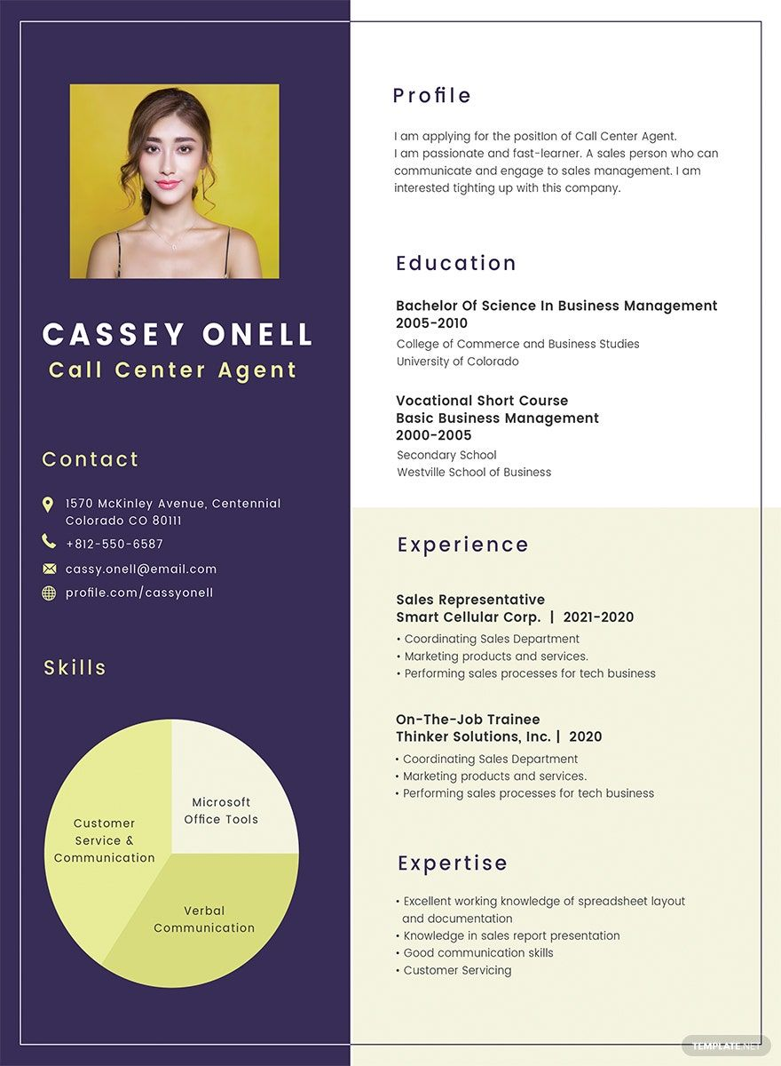 No Experience Call Center Resume Cv Template Word Psd Indesign Apple Pages Publisher Call Center Resume Examples Business Analyst Resume