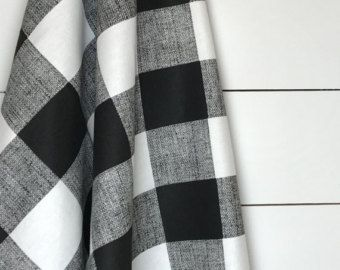 Black White Buffalo Check Fabric By The Yard Designer Cotton