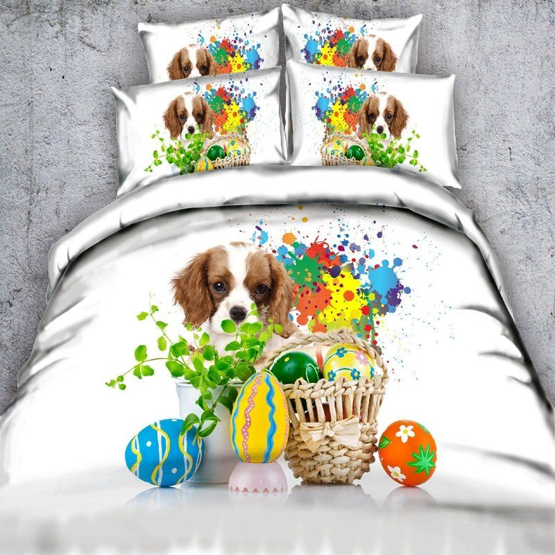 Teal Green Blue Yellow White And Purple Dog And Easter Eggs Print Bright Colorful Paint Splatter Twin Full Q Teal Bedding Sets Bedding Sets Dog Print Bedding
